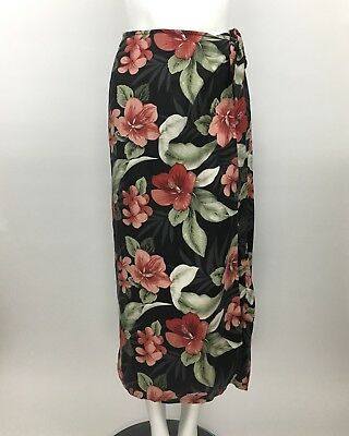 de5cfd33553c Tommy Bahama Womens Black Red Hibiscus Floral Print Silk Sarong Wrap Skirt L