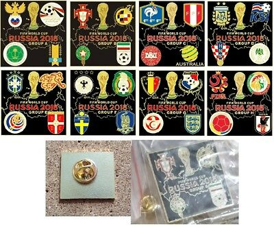 2018 WORLD CUP GROUPS A->H PINS/BADGES (England,Germany,Russia,Peru,France)BLACK