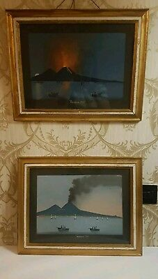 Antique Pair of Vesuvio Original Gouachi Paintings