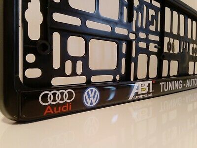 2 x VW AUDI ABT TUNING AUTOHAUS WOLFSBURG Number Plate Surrounds Holder Frame