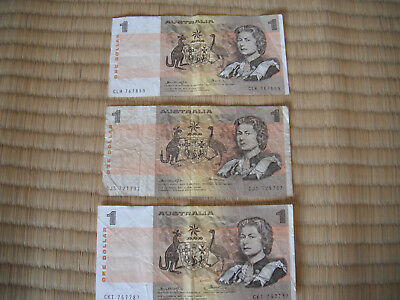 AUSTRALIA ONE DOLLAR NOTES Three (3) Notes total FREE SHIPPING
