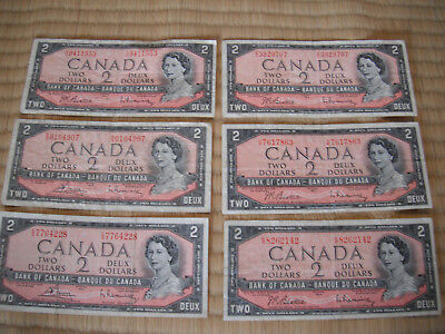 Bank of Canada TWO Dollar Banknotes SIX (6) Notes FREE SHIPPING