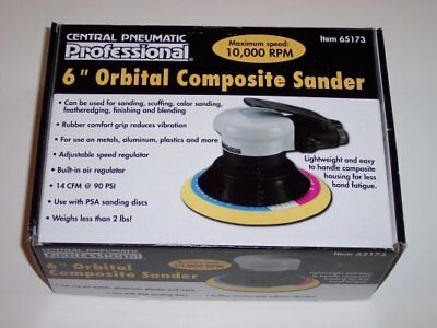 "Central Pneumatic Professional 6""Orbital Composite Air Sander NEW"