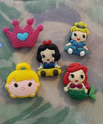 Lot of 5 Disney Princess charms for Crocs clog shoes or wristband bracelet. New.