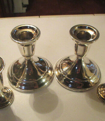 "A PAIR OF 4""3/4 Towle Sterling Silver Weighted # 512 candle holders"
