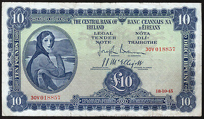 Central Bank of Ireland £10 Ten Pound Note 1945. Lavery. About Fine