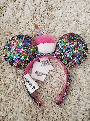 Disney Parks Minnie Mouse Confetti Rainbow Sequin Birthday Candle Ears Bow New