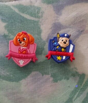 Lot of 2 Paw Patrol  charms for Crocs clog shoes or wristband bracelet. New.