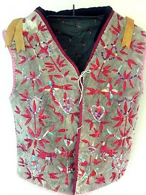 19th Century Pictorial Quilled Sioux Men's Vest on Hide Excellent!!