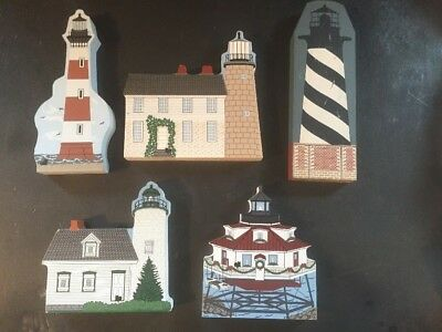 5 NEAT Wood Lighthouses Vintage The Cats Meow Maine SC