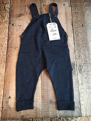 ZARA MINI  BABY Blue  KNITTED Dungarees SIZE 3-6 MONTHS