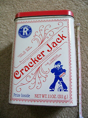 1991 Cracker Jack Tin 9 in x 6 in x 4 in, white with red lid