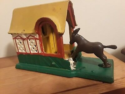 VINTAGE WORKING MECHANICAL KICKING DONKEY CAST IRON COIN BANK w/ TAIL TAIWAN
