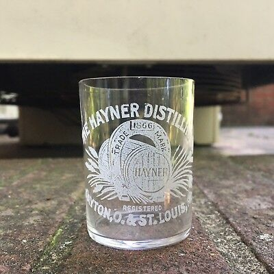 Acid Etched Pre-Pro Shot Glass Hayner Distilling Co Dayton OH St Louis MO Rye