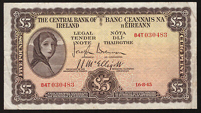 Central Bank of Ireland £5 Five Pounds 1945. About VF
