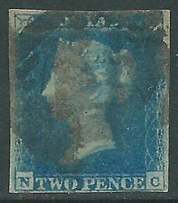 1841 GREAT BRITAIN USED PENNY DEEP FULL BLUE 2d SG15 (NC)