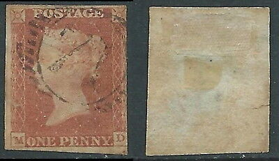 1841 GREAT BRITAIN USED PENNY RED 1d SG 11 (MD) DEFECTIVE SMALL TEAR