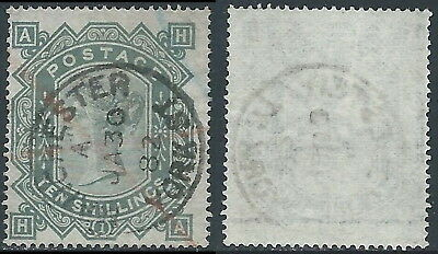 1867-83 GREAT BRITAIN USED SG 128 10s PLATE 1 (HA)
