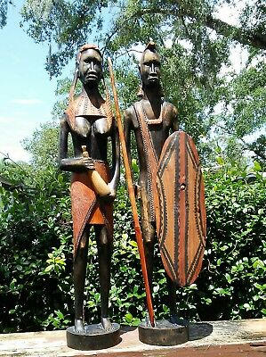 "Vtg-African Wooden Couple-Large Statues-Sphere and Shield-Art-BOTH 21"" TALL!"