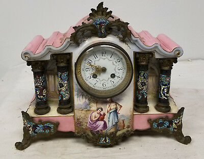 Antique French Champleve Pink Enamel Mantle CLock Japy Freres Painted Porcelain