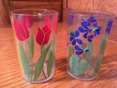 "Vintage Swanky Swigs Tulip & Violet 3 1/2"" tall, Set Of 2 - Red Blue"