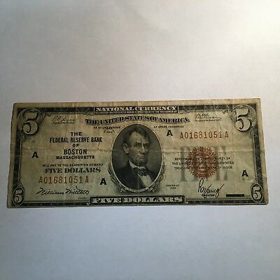 Series 1929 $5 National Bank Note Federal Reserve Bank of Boston F