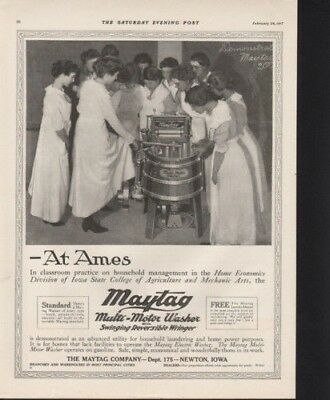 1917 Maytag Wringer Machine College Demonstration Ad  9566