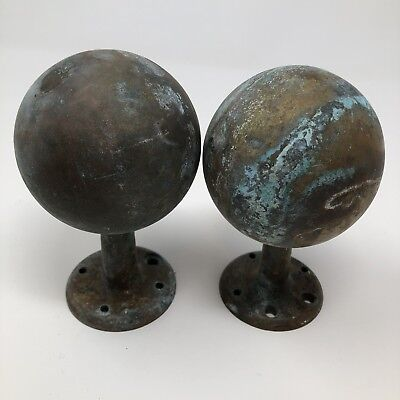 "Antique Pair Solid Brass Finials, Approx 5"" Tall, Threaded but worn female"
