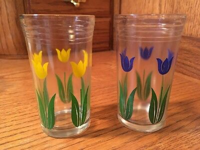 """Vintage Swanky Swigs Tulips 3 1/2"""" tall, Set Of 2 - Yellow and Blue"""