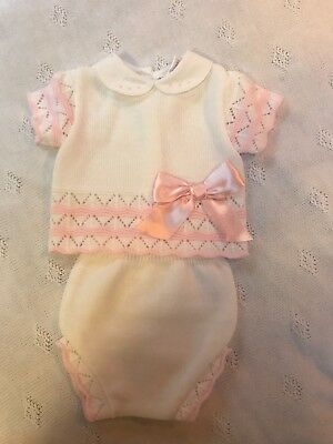 NEW Romany Baby Girls Gorgeous pink Spanish Knitted Ribbon Jam Suit  ☆3-6,N/B