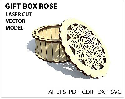 FILE DXF CDR EPS AI SVG for Laser Cut or CNC ROUTER  Gift Box Rose VECTOR FILE