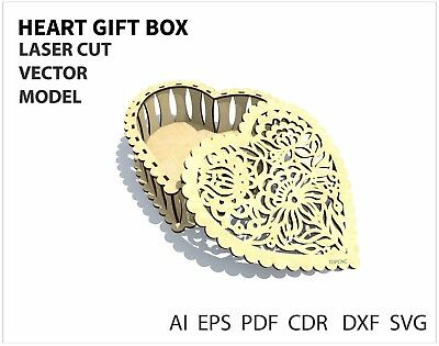 FILE DXF CDR EPS AI SVG for Laser Cut or CNC ROUTER HEART BOX VECTOR FILE