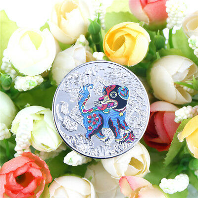 1PC year of the dog silver 2018 chinese  anniversary coins tourism gift Nice US