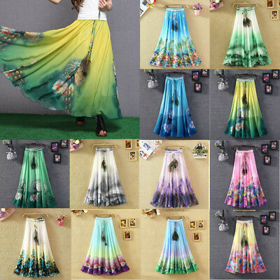 BOHO Womens Floral Jersey Gypsy Long Maxi Skirt Summer Beach Sun Dress & Feather