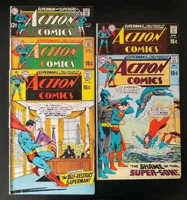 SUPERMAN Lot of 5 No. 376 379 390 391 392 DC Action Comics Bronze & Silver Age