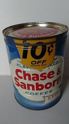 Vintage Chase & Sanborn Coffee Can Tin 2 LB 10 cents Off