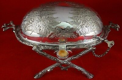 "Rare 1870 English Silverplate Butter Dish w/ Dome & glass liner. Apx. 8""x5""4 ½""t"