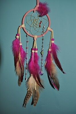 "Dreamcatcher--3"" Bright Pink Dreamcatcher w/bead drop"
