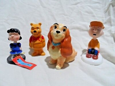 2 Walt Disney & 2 Peanuts Figurines - Charlie Brown,Lucy(Bobble Head),Pooh,&Lady