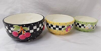 RARE Mary Engelbreit 3 bowl set checkered cherrys floral 2000 FAST SHIPPING