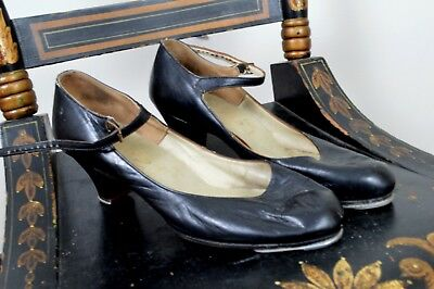Vintage Women's Black Leather Tap Pumps Shoes Size 8.5