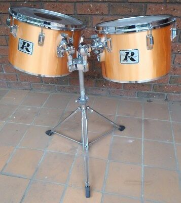 "Rogers 70s Big R vintage concert toms 13 &14"" Metallic Gold with Memriloc stand"