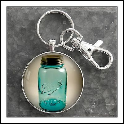 Vintage Mason Jar Ball Jar Photo Keychain Blue Mason Jar Antique