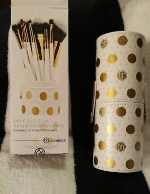 7dc26f63d96b3 BH Cosmetics Dot Collection 11 Piece Brush Set White  Gold + Case FREE  SHIPPING