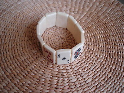 Vintage 50/60s style hand painted carved bracelet~stretchable~playing card tile