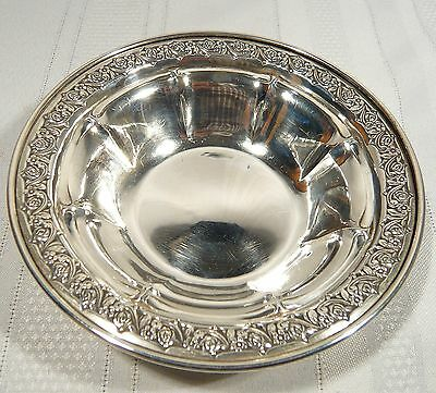 "Gorham STERLING Silver Bowl Floral Roses Edge 5 5/8"" 75 gram CANDY / NUT  Dish"