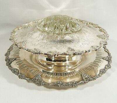 2 pc Old English GRAPE & VINE Silverplate FLOWER BOWL Glass FROG & Engraved TRAY