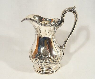 Rare 1870  ELKINGTON SILVER Plate Repousse PITCHER MILK CREAMER Hand Chased Jug