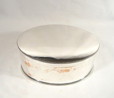 """Antique TOBACCO BOX Oval 8"""" Silver Plate Hinged Lid CANISTER Tin circa 1810"""
