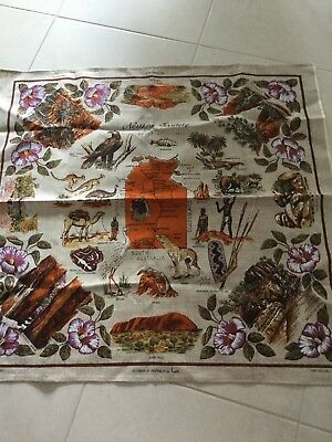 Vintage Northern Territory Table Cloth. Linen. Designed by Neil 92cm sq